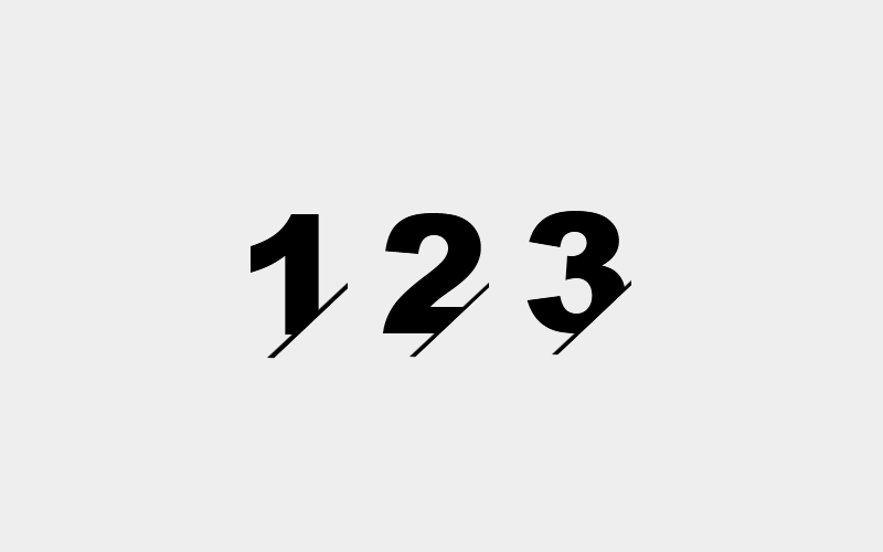 number cut off with slash line